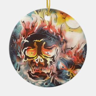 arte abstracto del cráneo llameante adorno navideño redondo de cerámica
