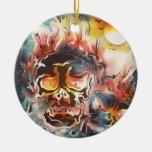 arte abstracto del cráneo llameante ornamento de navidad