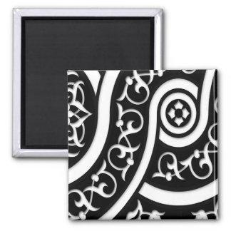 Arte abstracto del damasco en blanco y negro imán para frigorifico