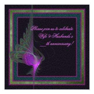 """Arte abstracto del derviche púrpura invitación 5.25"""" x 5.25"""""""