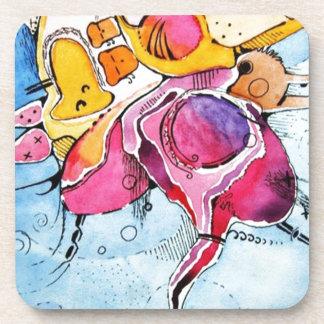 Arte abstracto del dibujo animado de la acuarela d posavasos