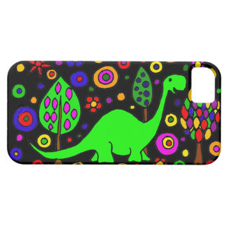 Arte abstracto del dinosaurio divertido funda para iPhone SE/5/5s