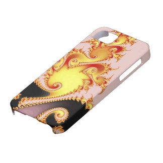 Arte abstracto del dragón del fractal de oro de la iPhone 5 carcasas
