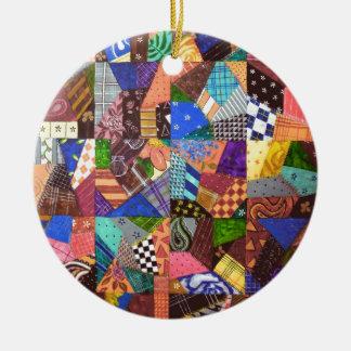 Arte abstracto del edredón de remiendo del edredón adorno navideño redondo de cerámica