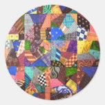 Arte abstracto del edredón de remiendo del edredón pegatinas redondas