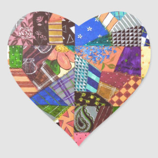 Arte abstracto del edredón de remiendo del edredón pegatina en forma de corazón