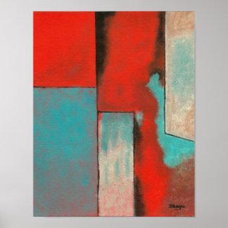 Arte abstracto del expresionista que pinta la póster