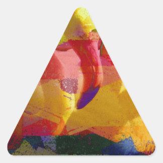 Arte abstracto del flamenco pegatina triangular