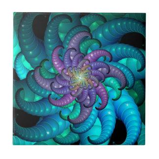 Arte abstracto del fractal de la anémona de mar azulejo cuadrado pequeño