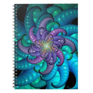 Arte abstracto del fractal de la anémona de mar libros de apuntes con espiral