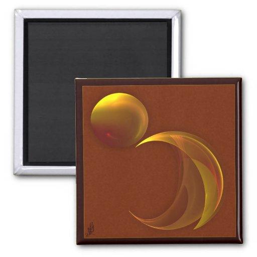 Arte abstracto del fractal de Sun que despliega Imán Cuadrado