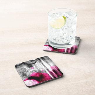 Arte abstracto del fucsia, gris y negro del grano posavasos de bebidas