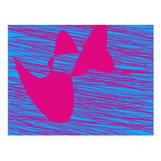 Arte abstracto del fucsia y del trullo de la gota  postal