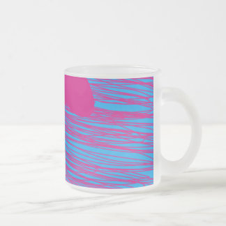 Arte abstracto del fucsia y del trullo de la gota taza de cristal