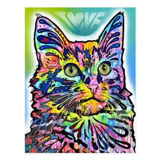 Arte abstracto del gato turco del angora postal