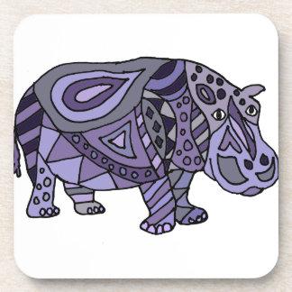 Arte abstracto del hipopótamo divertido posavaso