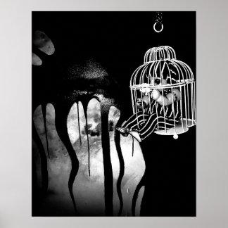 Arte abstracto del horror - muñeca en jaula póster