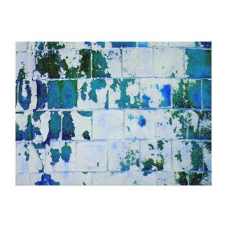 Arte abstracto del ladrillo azul impresiones de lienzo