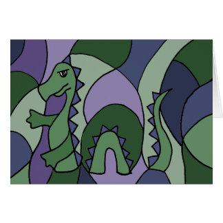 Arte abstracto del monstruo divertido de Loch Ness Tarjetas