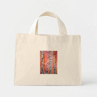 arte abstracto del paisaje del árbol de abedul bolsa tela pequeña