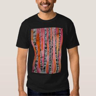 arte abstracto del paisaje del árbol de abedul playera