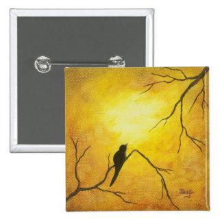Arte abstracto del pájaro de la sol de oro feliz d pin