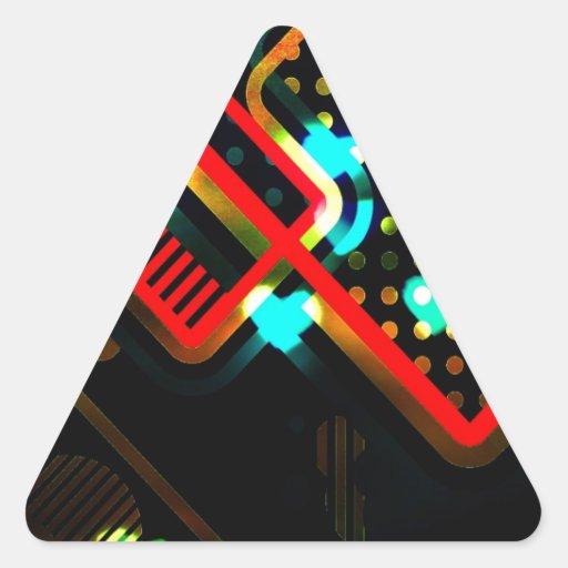 Arte abstracto del relámpago pegatina triangular