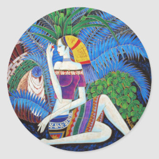 arte abstracto del retrato decorativo exótico del etiqueta redonda