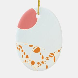 arte abstracto del rosa y del naranja 1276 adorno ovalado de cerámica