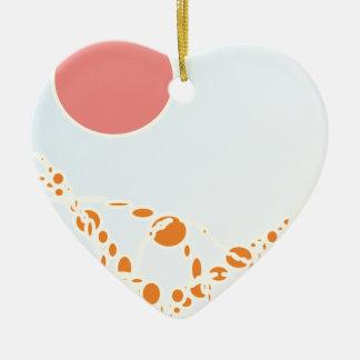 arte abstracto del rosa y del naranja 1276 adorno de cerámica en forma de corazón