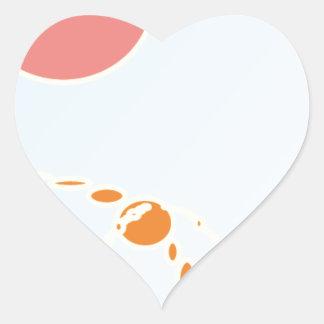 arte abstracto del rosa y del naranja 1276 pegatina en forma de corazón