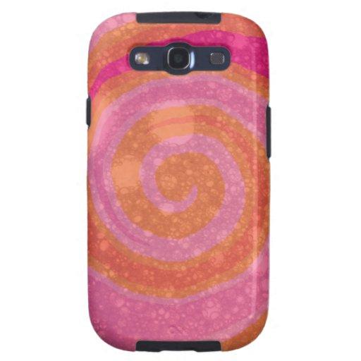 Arte abstracto del rosa y del remolino anaranjado galaxy s3 fundas