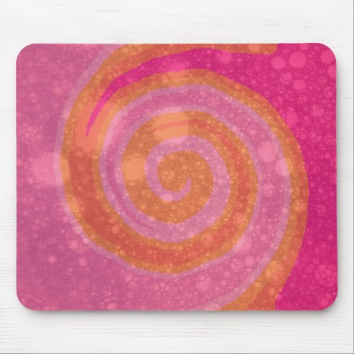 Arte abstracto del rosa y del remolino anaranjado tapetes de raton