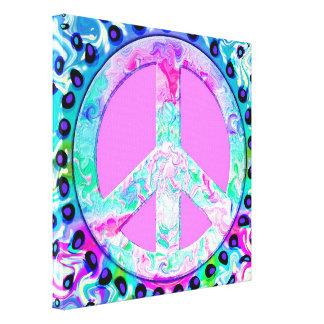 Arte abstracto del signo de la paz psicodélico impresión en lona estirada