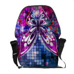 Arte abstracto del vector púrpura de la mariposa bolsas messenger