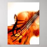Arte abstracto del violín poster