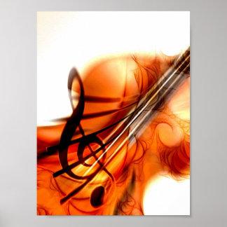 Arte abstracto del violín póster