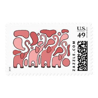 Arte abstracto divertido del elefante rosado sellos