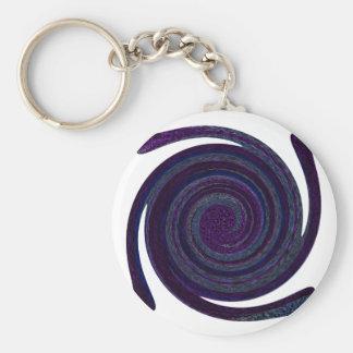 Arte abstracto espiral azul púrpura llaveros