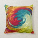 Arte abstracto espiral multicolor cojin