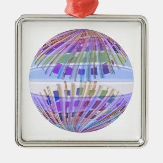 Arte abstracto feliz azul del vitral n de la adorno navideño cuadrado de metal