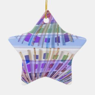 Arte abstracto feliz azul del vitral n de la adorno navideño de cerámica en forma de estrella
