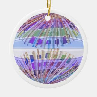 Arte abstracto feliz azul del vitral n de la adorno navideño redondo de cerámica