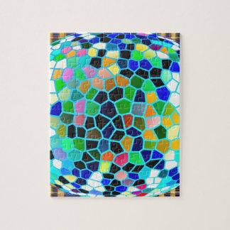 Arte abstracto feliz azul del vitral n de la rompecabeza