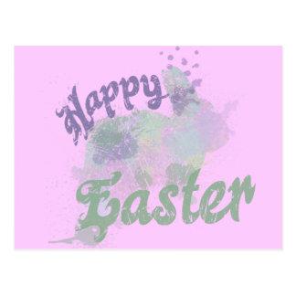 Arte abstracto feliz del conejito de Pascua Tarjeta Postal