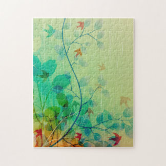 Arte abstracto floral de la primavera moderna puzzles