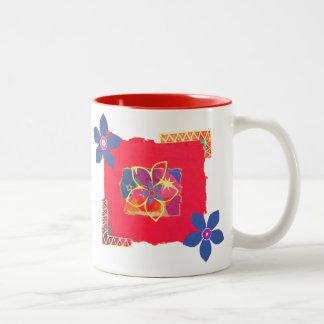 Arte abstracto floral rojo tazas de café