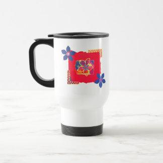 Arte abstracto floral rojo taza de café