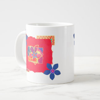 Arte abstracto floral rojo tazas jumbo