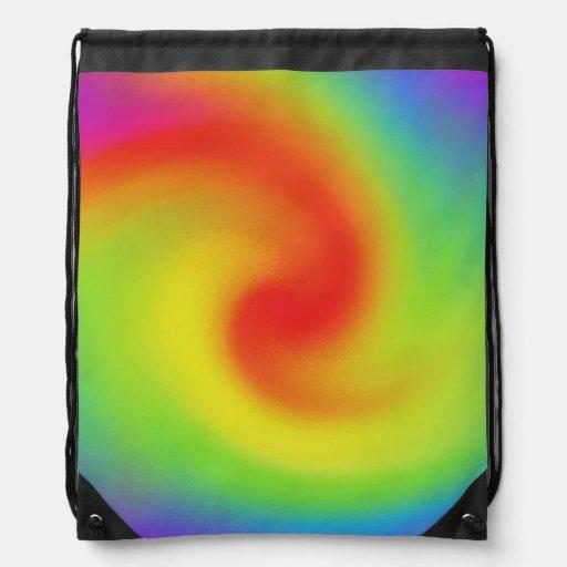 Arte abstracto fresco de la onda del arco iris mochilas